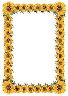 Słoneczniki akwarela malarstwo prostokątna rama jesienna ramka święto dziękczynienia dożynek