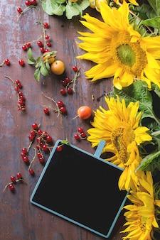Słoneczniki z tablicą