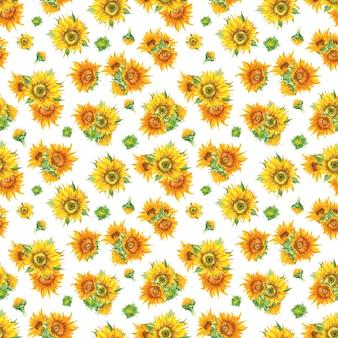 Słonecznikowy wzór w akwareli