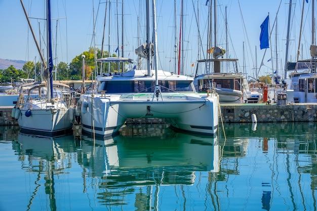 Słoneczny dzień na przystani. katamaran żaglowy i wiele masztów innych jachtów