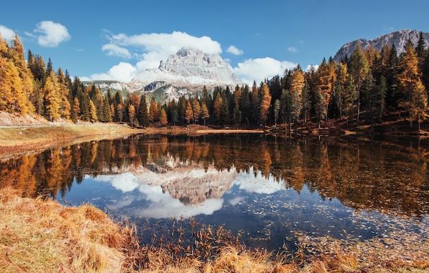 Słoneczny jesienny dzień. wspaniałe góry w chmurach. świetny krajobraz. lasy w pobliżu jeziora