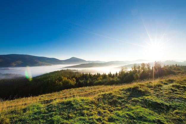 Słoneczny krajobraz karpat