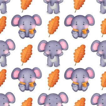 Słonie akwarela bezszwowe wzory.