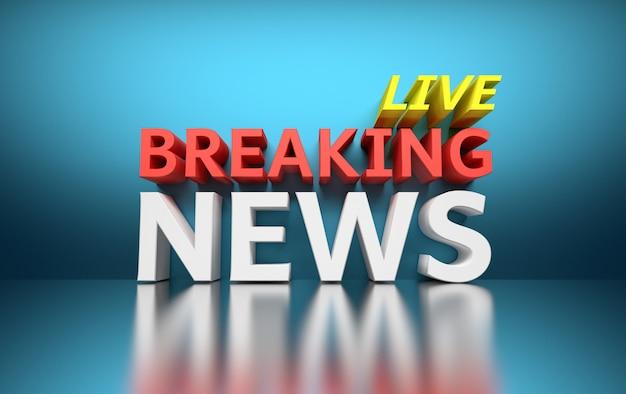 Słowa breaking news live napisane pogrubionym czerwonym, białym i żółtym kolorem na niebiesko
