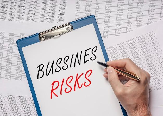 Słowa napis ryzyka biznesowego