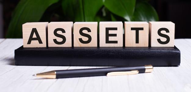 Słowo assets jest zapisane na drewnianych kostkach dziennika w pobliżu rączki.