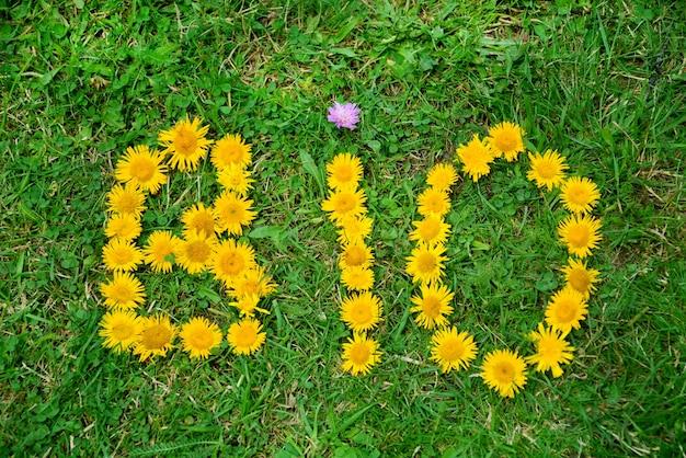 Słowo bio wykonane z kwiatów
