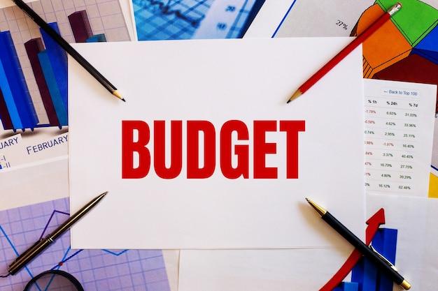 Słowo budżet jest zapisane na białej ścianie obok kolorowych wykresów, długopisów i ołówków. pomysł na biznes