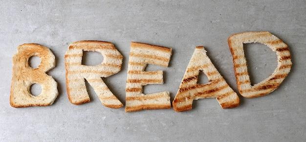 Słowo chleb z grzankami