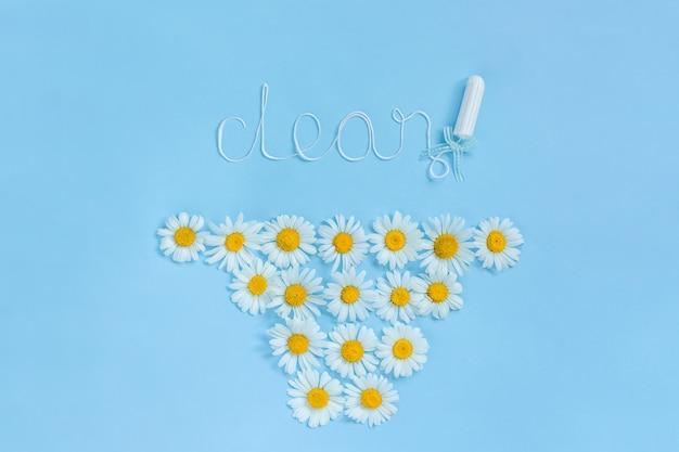 Słowo clean z higienicznego żeńskiego tamponu z białą nicią i chamomiles na różowym tle