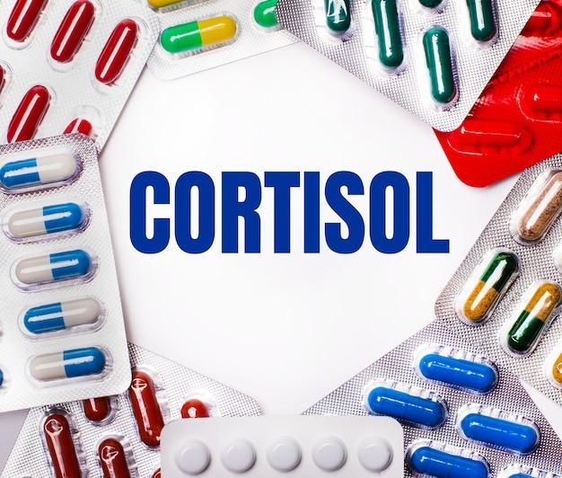 Słowo cortisol jest napisane na jasnej powierzchni otoczonej wielobarwnymi opakowaniami z tabletkami. pojęcie medyczne