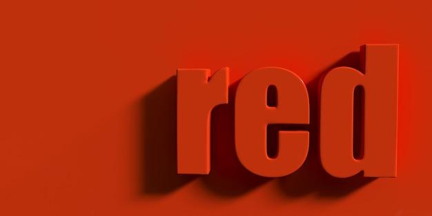 Słowo czerwony na czerwonym tle renderowania 3d