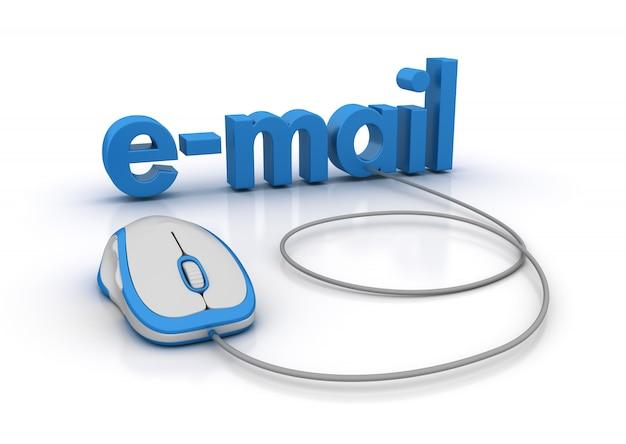 Słowo e-mail z myszą komputerową
