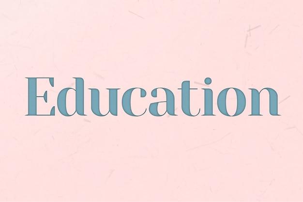 Słowo edukacyjne w stylu niebieskiego tekstu