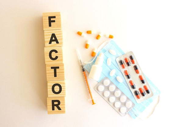 Słowo factor jest wykonane z drewnianych kostek na białym tle