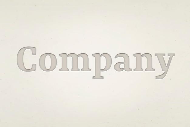 Słowo firmowe w stylu wytłoczonego tekstu