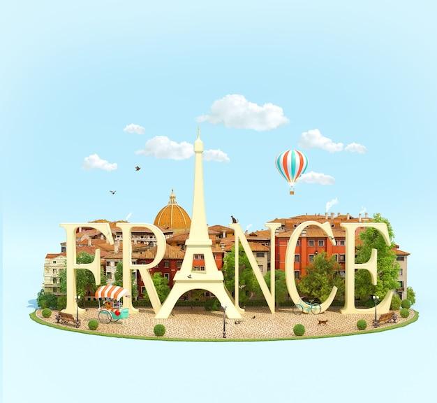 Słowo francja ze starymi budynkami europejskiego miasta