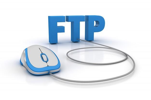 Słowo ftp z myszą komputerową
