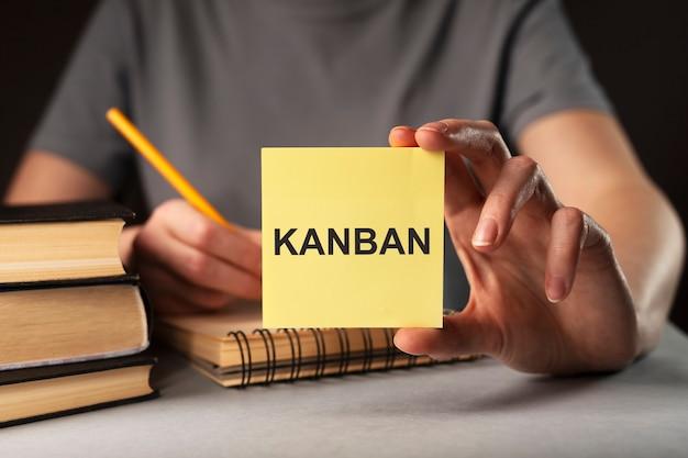 Słowo kanban na papierowej notatce w kobiecej metodzie szczupłej ręki w zarządzaniu