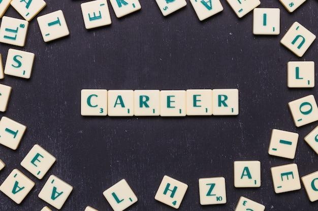 Słowo kariera w literach scrabble z góry