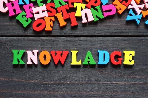 Słowo knowladge z kolorowymi literami