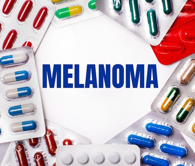 Słowo melanoma jest napisane na jasnym tle, otoczonym różnokolorowymi opakowaniami z tabletkami