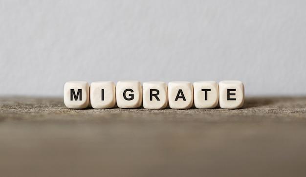 Słowo migrate wykonane z drewnianych klocków