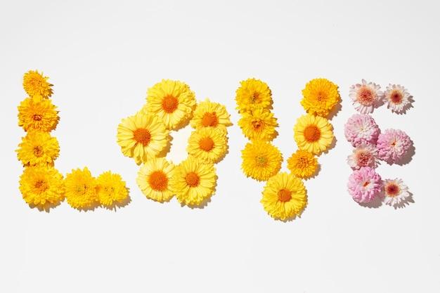 Słowo miłość układać pąki kwiatowe na szarym tle widok z góry