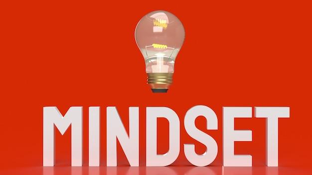 Słowo myślenia i żarówka na czerwonej powierzchni