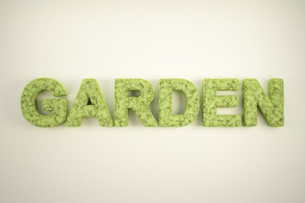 Słowo ogród porośnięty trawą i kwiatami. wysokiej jakości renderowanie 3d