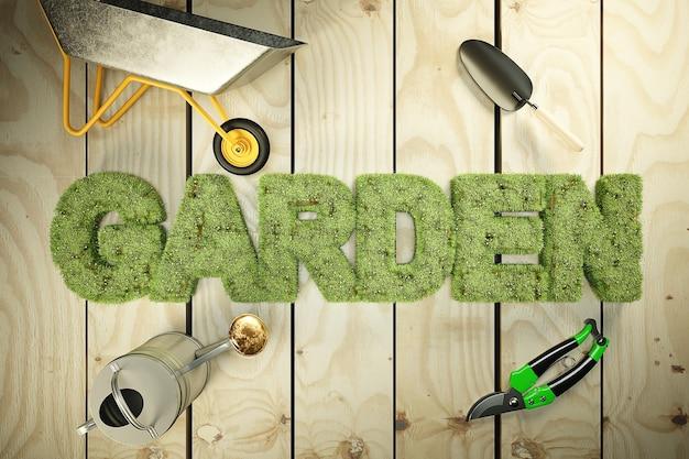 Słowo Ogród Porośnięty Trawą I Kwiatami. Wysokiej Jakości Renderowanie 3d Premium Zdjęcia