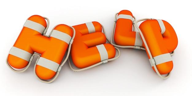 Słowo pomoc renderowane w teksturze lifebuoy (kompozycja pozioma)
