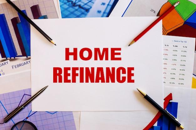 Słowo rafinacja domowa jest zapisane na białej ścianie obok kolorowych wykresów, długopisów i ołówków. pomysł na biznes