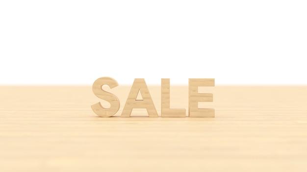 Słowo sprzedaż drewniany budynek z białym odosobnionym tłem renderowania ilustracji 3d dla biznesu