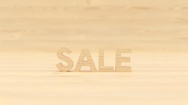 Słowo sprzedaż drewniany budynek z drewnianym tłem renderowania ilustracji 3d dla wizytówki