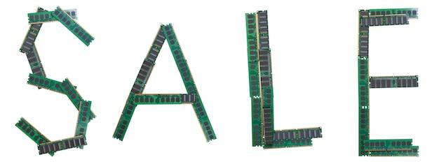 Słowo sprzedaż wpisane ze starych modułów pamięci ram komputerów osobistych.