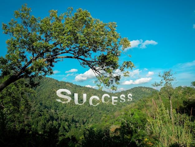 Słowo, sukces z dużymi literami ułożonymi na zielonej, bujnej żyznej górze z pięknym widokiem, udana koncepcja.