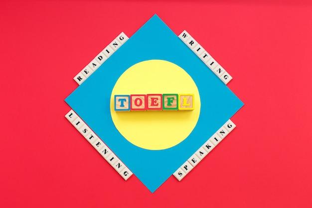 Słowo toefl i słowa czytanie, słuchanie, pisanie, mówienie toefl