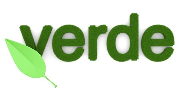 """Słowo """"verde"""" (po hiszpańsku """"zielony""""). symbol ekologii. ilustracja 3d."""