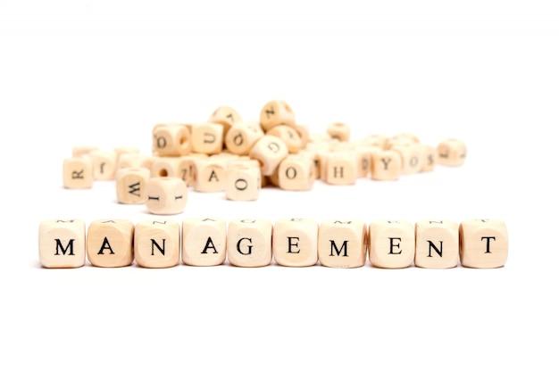 Słowo z kostkami na białym tle - zarządzanie