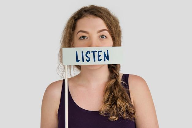 Słuchaj komunikacji uwaga słowo koncepcja