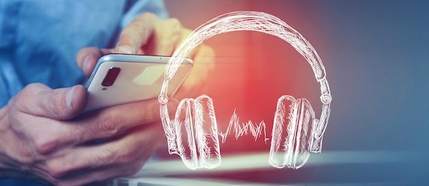 Słuchawki słuchają muzyki lub audiobooka