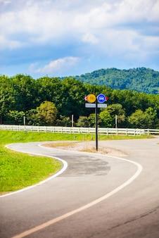 Słupek sygnalizuje pas rowerowy i pas samochodowy