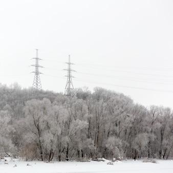 Słupowe przewody elektryczne wysokiego napięcia w lesie. zimowy krajobraz w rosji.