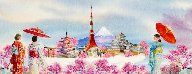 Słynne zabytki świata i azjatycka kobieta ubrana w tradycyjne japońskie kimono z parasolem.