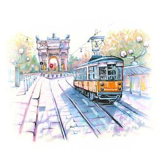 Słynny tramwaj w mediolanie we włoszech