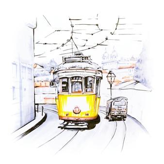 Słynny zabytkowy żółty tramwaj w alfama, lizbona, portugalia