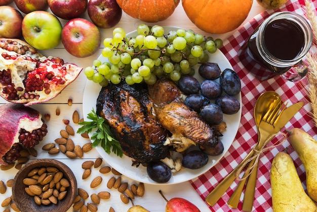 Smaczne jedzenie dziękczynienia powyżej widoku