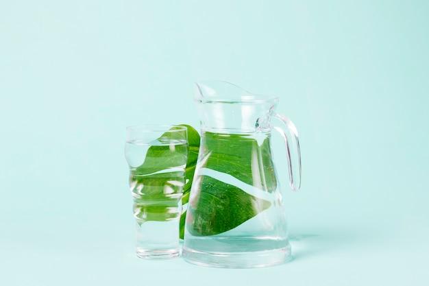 Smaczne liście mięty za dzbanem wody