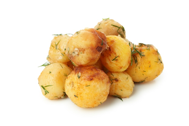 Smaczne pieczone ziemniaki na białym tle.